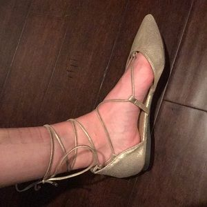 Breckelles Shoes - gold lace up pointed toe shoes